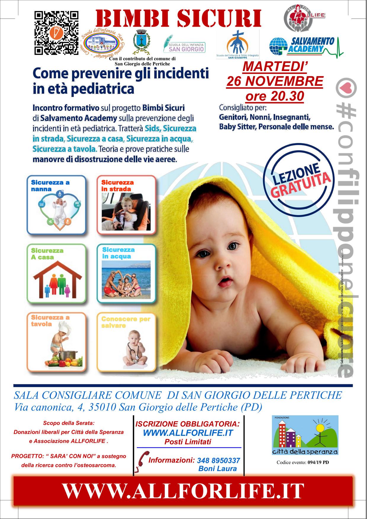 Bimbi sicuri - Come prevenire gli incidenti in età pediatrica @ SALA CONSIGLIARE COMUNE DI SAN GIORGIO DELLE PERTICHE | San Giorgio delle Pertiche | Veneto | Italia